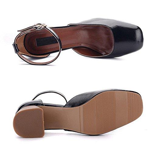 L@YC® Damen Sandalen Sommer Single Schuhe Mit Einem Knopf Mit Einem Quadratischen Kopf Mit Einem Lackleder Schuhe Black