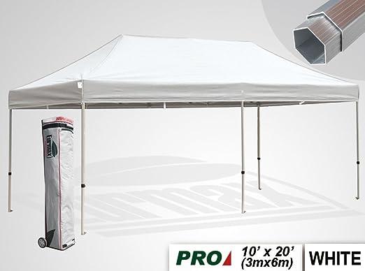 Eurmax profesional 6 x 3 m Pop Up Gazebo, Gazebo de aluminio resistente carpa plegable Marquee rápido, con bolsa de transporte con ruedas, blanco: Amazon.es: Jardín