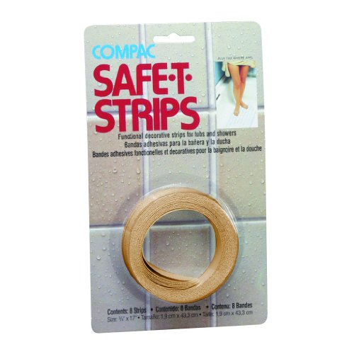 Compac Safe-T-Strips Beige Bath Treads Permanent Adhesive...