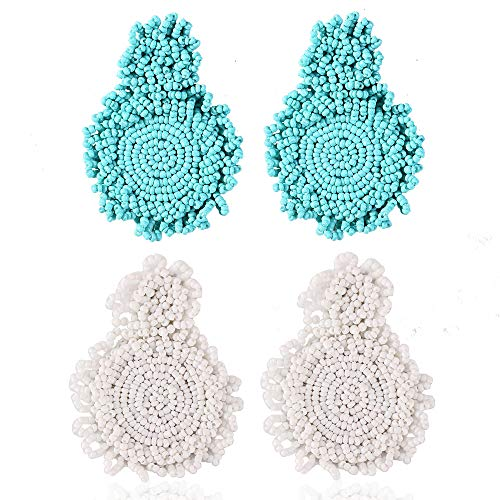 - Statement Beaded Hoop Earrings for Women- Fashion Bohemian Handmade Round Whimsical Drop Earrings, Idea Gifts for Mom,Girl, Sisters and Friends (Blue+White)