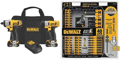 DEWALT 12V Cordless Screwdriver Impact Driver Combo Kit DCK210S2 with DEWALT DWA2T40IR IMPACT READY FlexTorq Screw Driving Set, 40-Piece