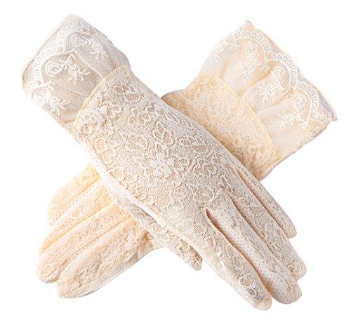 Urban CoCo Vintage Spring and Summer Women's Lace Cotton Short Gloves (Model 3-Beige) - Stretch Vintage Gloves