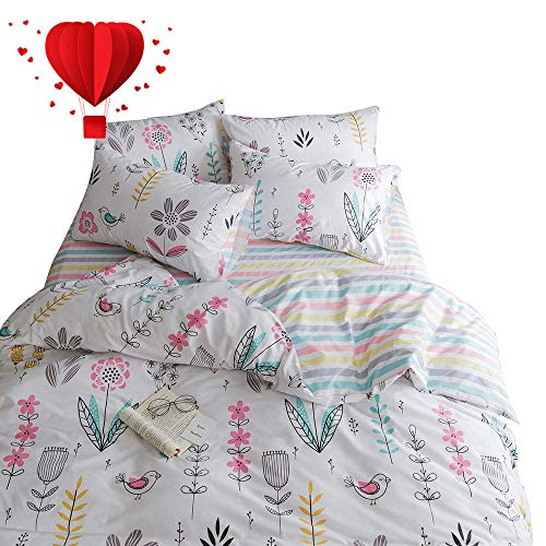 - BuLuTu Floral Bird Print Pattern Girls Duvet Cover Twin White Premium Cotton Nature Blossom Colorful Reversible Kids Bedroom Comforter Cover Bedding Sets Zipper for Teen Toddler,NO Comforter