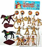 Plastic Toy Soldiers Caesar Knights with Horses Playset Painted Figures - 12 Knights with Shields & Weapons, 2 Horses & Accessories