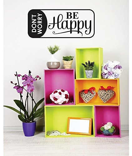 Don't Worry Be Happy Image Quote Vinyl Wall Decal Sticker Color : Black Size : 8x20