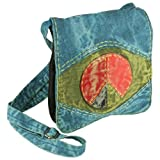 Earth Divas CBG-231-LB Stonewashed Cotton Women's Shoulder Passport Handbag with Adjustable Strap, Light Blue, Bags Central