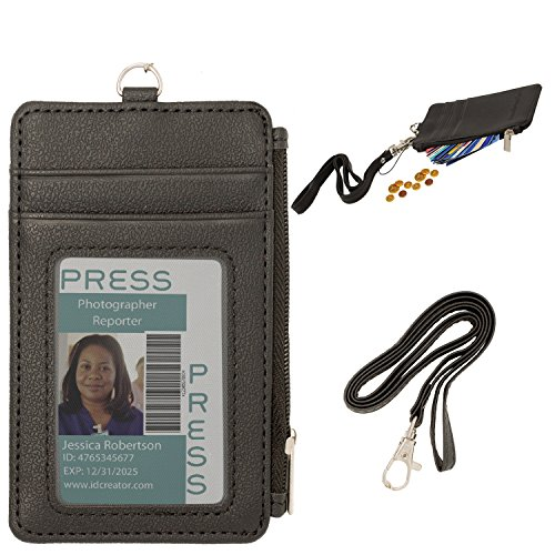 Cmxsevenday C68808 PU Leather Badge Wallet: Credential Holder Case With ID Window, 4 Credit Card Slots & Zipper Pocket - Black