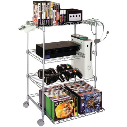 1 - 4-Tier Wire Gaming Tower, Organizes & stores all gaming gear, Accommodates up to 3 gaming consoles simultaneously, 45506019 by GameKeeper - 4 Tier Wire Gaming Tower