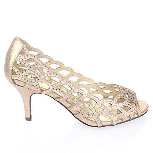 Aarz señoras de las mujeres del alto talón del dedo del pie del pío de Banquete de boda de la tarde Diamante calzan el tamaño (oro, plata, champán, Negro) Champán