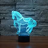 Christmas Valentine Wedding And Birthday Gifts 3D Table Touch Lamp 7 Colorful Color Changing Night Light for Children and Kids Horse