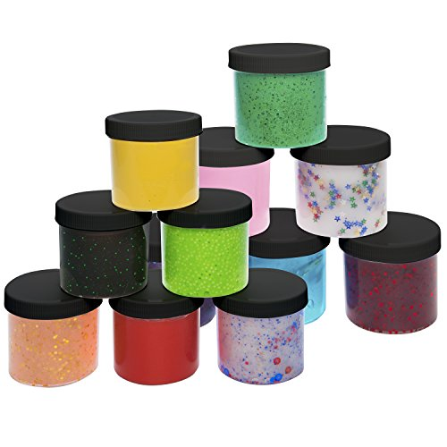 2oz (12 Pack) - Maddie Rae's Clear Containers For All Your Glue Putty Making (Containers 12 Ounce Container)