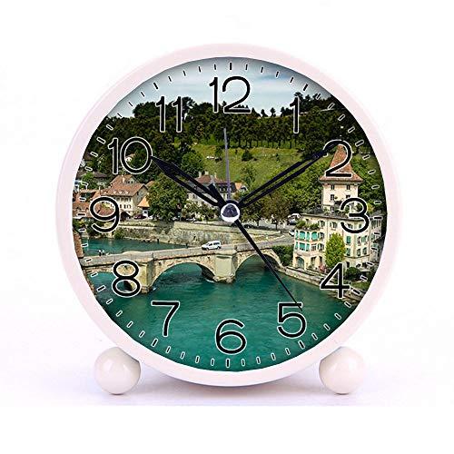 (Cute Color Alarm Clock, Round Metal Desk Clock Portable Clocks with Night Light House Decorations -513.Silver Vehicle on Concrete Arch Bridge (Blue))