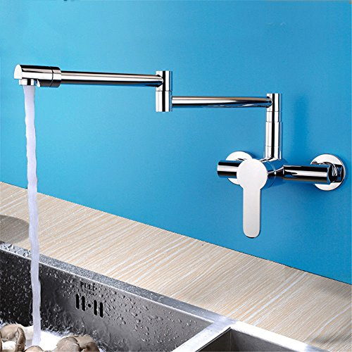 Modern Kitchen Faucet Solid Brass Sprayer Kitchen Mixer Taps Kitchen folding faucet hot and cold all-copper wall-mounted rotating shampoo single hole basin washbasin faucet with US Standard ()