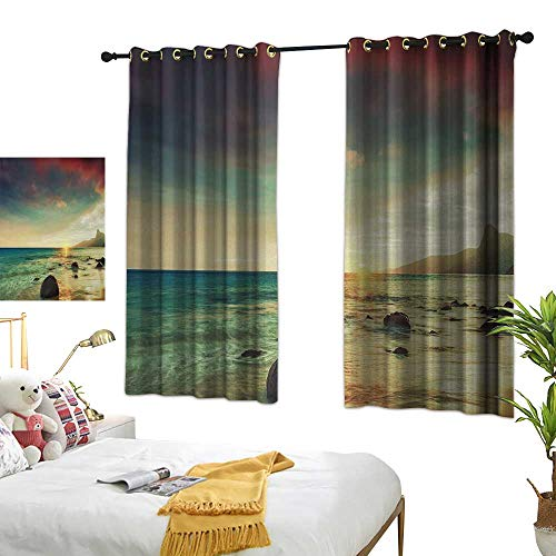 (Bedroom Curtain W63 x L63 Beach,Sunrise Over The Sea Tropical Water Summer Beach with Rock and Dramatic Sky Nature,Blue Cream Living Room Dining Room Kids Youth Room Window Drapes)