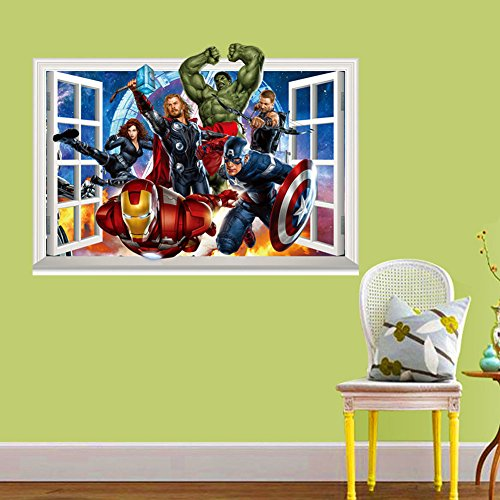 Fange diy removable 3d windows avengers super hero art for Avengers wall mural