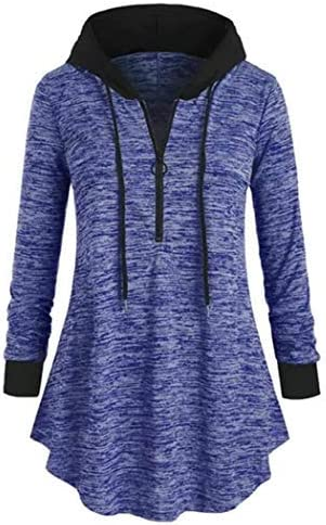 Zippem Women Casual Hooded Sweatshirt Long Sleeve Solid Loose Pullover Tops Fashion Sweatshirts