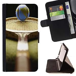 King Art - Premium-PU-Leder-Prima caja de la PU billetera de cuero con ranuras para tarjetas, efectivo Compartimiento desmontable y correa para la mu?eca FOR Samsung GALAXY G850 SM-G850F G850Y G850M- Tennis Ball Ace