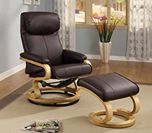 Coaster Swivel Bonded Leather Match Leisure Chair and Ottoman Set in Brown
