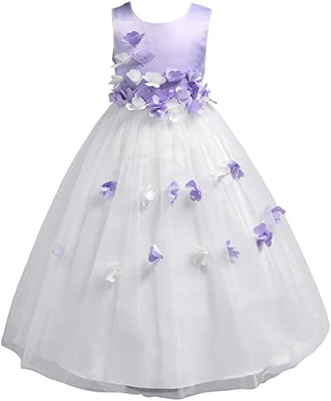 DAZISEN Falda de Fiesta - Vestido de Princesa Niña Apliques ...