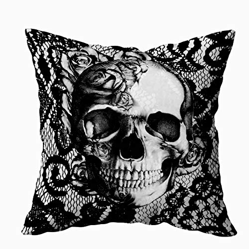EMMTEEY Home Decor Throw Pillowcase for Sofa Cushion Cover, Black and White lace and Roses Skull Decorative Square Accent Zippered and Double Sided Printing Pillow Case Covers 18X18Inch