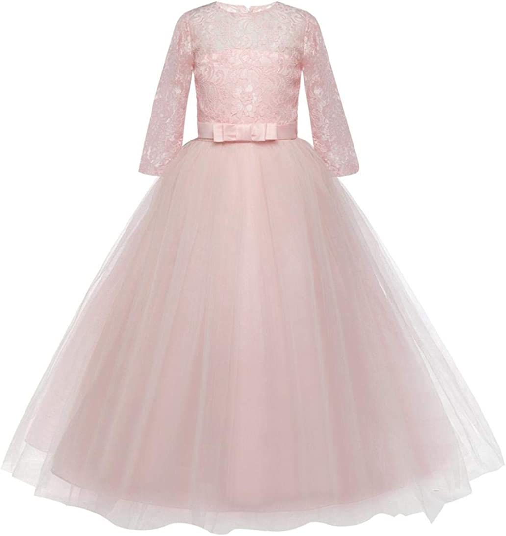 Girls Princess Dress 7-7 Years Old,Children Girls Kids Lace Bowknot Wedding  Performance Formal Dress Ball Gown