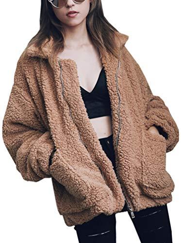 Medium Faux Fur - Hibluco Women's Long Sleeve Lapel Faux Fur Zip up Fleece Coat