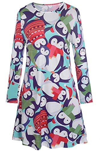 - Herose Women Cute Penguins Full Printing Mini Dress T-Shirt Blouse L Turquoise