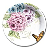 Lenox Butterfly Meadow Hydrangea Coated Paper Lunch Dessert Plates 8 Count
