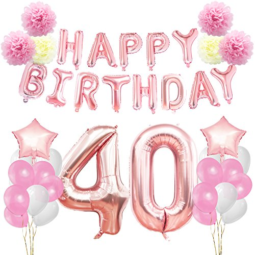 KUNGYO 40th Birthday Decorations Kit Rose Gold Happy Banner Giant Number 40 And Star Helium Foil Balloons Ribbons Paper Pom Flowers