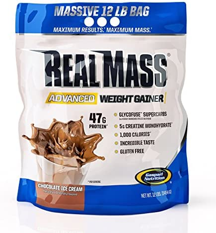 Gaspari Nutrition Real Mass Advanced Weight Gainer, Chocolate Ice Cream, 12 Pound