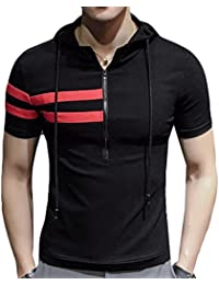 X-Future Men's Stylish Slim Fit Short Sleeve T-Shirt With Hood