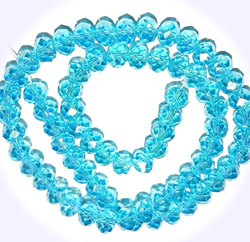 New Carribean Blue AB 8mm Rondelle Faceted Cut Crystal Glass Jewelry-Making Beads 16-inch DIY Craft Supplies for Handmade Bracelet Necklace