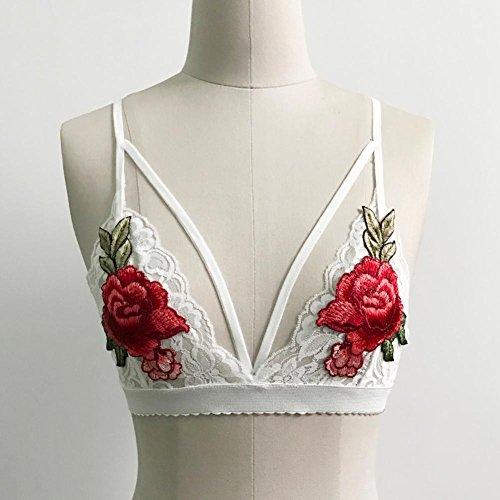 ZEZKT Frauen Harness BH elastischen Käfig Büstenhalter (Weiß)