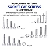 NINDEJIN 880Pcs M2 M3 M4 M5 Stainless Steel Precise Metric Hex Socket Head Cap Machine Screws,Round Flat Socket Bolts and Nuts Set and Washers Assortment Kit +Wrench