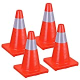 TRIPREL INC. Professional Light Weight 18'' Fluorescent Red Reflective Traffic Safety Cone - Quantity of 4