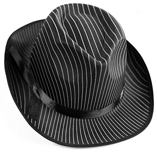 Squirrel Products White Pinstripe Gangster Hat Fedora ()