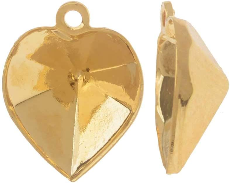 Swarovski Ajuste Colgante de Piedra Cristal, se Adapta al corazón # 4884 de 11x10 mm, 2 Piezas, Chapado en Oro