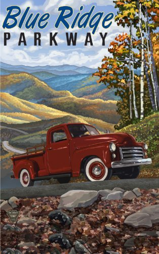 Northwest Art Mall Blue Ridge Parkway Red Pickup Truck North Carolina Wall Art by Paul A Lanquist, 11 by - Mall Parkway