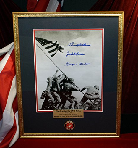 Signed IWO JIMA autographs, 3 MOH, War Ends Newspaper, DVD, FRAME, COA - UACC RD#228, stamps and SAND from ONE OF A KIND