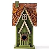 Glitzhome Tall Green Hand Painted Wood Birdhouse, 11.93''