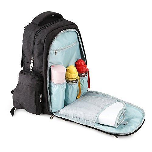 Imyth–gran capacidad bolso para mochila de viaje impermeable bolsa para bebé con cambiador y clips para cochecito Linen Gray Linen Black