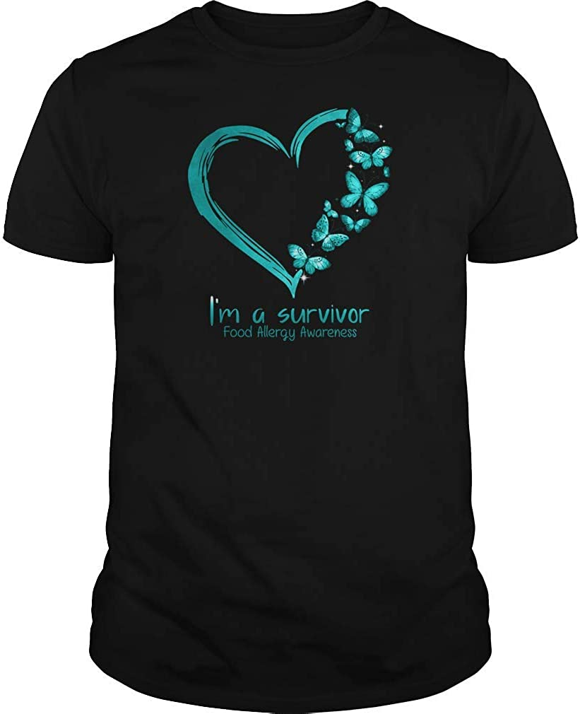 UMACVN Butterfly Heart Ribbon I'm A Survivor Food Allergy T-Shirt