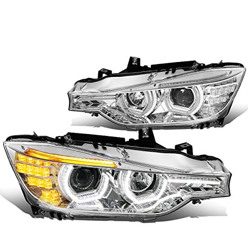 DNA MOTORING HL-3D-F3013-CH Chrome Housing LED DRL U-Halo Projector Headlight[12-16 BMW F30 3-Series]