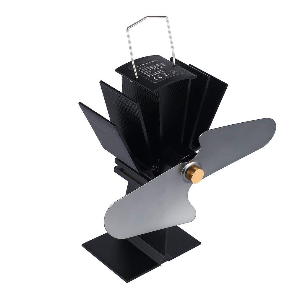 2 cuchillas Estufa de leña con energía de calor Ventilador ecológico Hogar Quemador de leña Chimenea Ventilador Capa de combustible Estufa Ahorro Ventilador ...