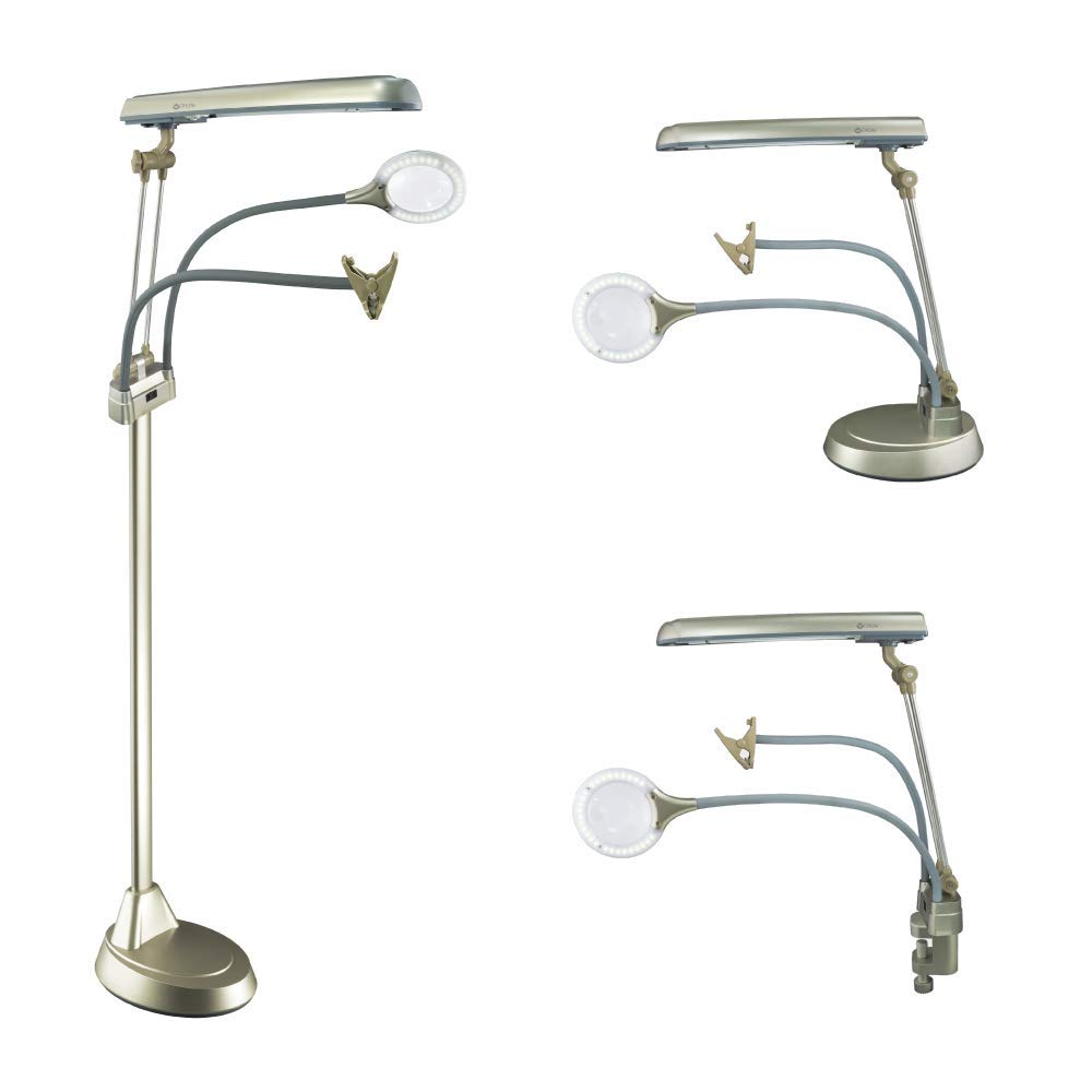 OttLite Ultimate 3-in-1 Craft Lamp, 24 Watt, Floor Lamp, Table Lamp, Clamp-On Lamp, Champagne by OttLite