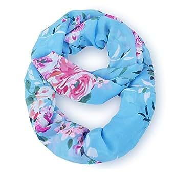 MissShorthair New Fashion Women's Multicolor Floral Print Chiffon infinity Loop Circle Scarf (Atlantis)