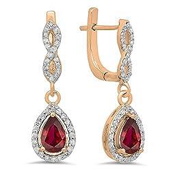 Ruby & Round White Diamond Teardrop Earrings