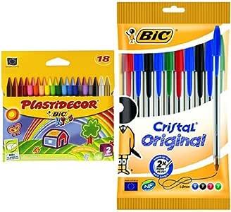 Bic - Pack 18 ceras de colores Plastidecor + 10 unidades bolígrafo de punta redonda multicolor: Amazon.es: Oficina y papelería