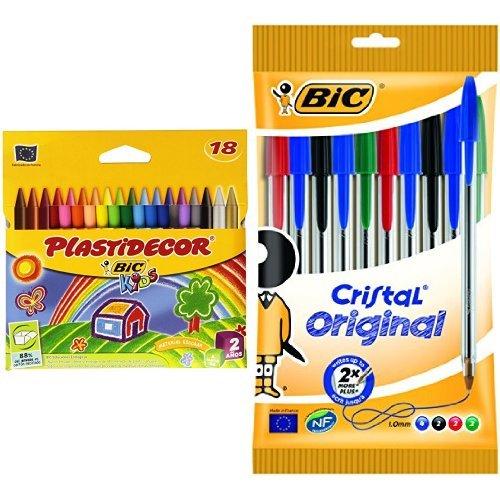 Bic - Pack 18 ceras de colores Plastidecor + 10 unidades bolígrafo de punta redonda multicolor