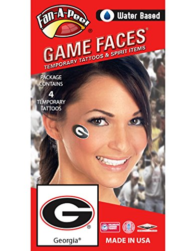 University of Georgia (UGA) Bulldogs – Water Based Temporary Spirit Tattoos – 4-Piece – Red/White/Black G Oval -